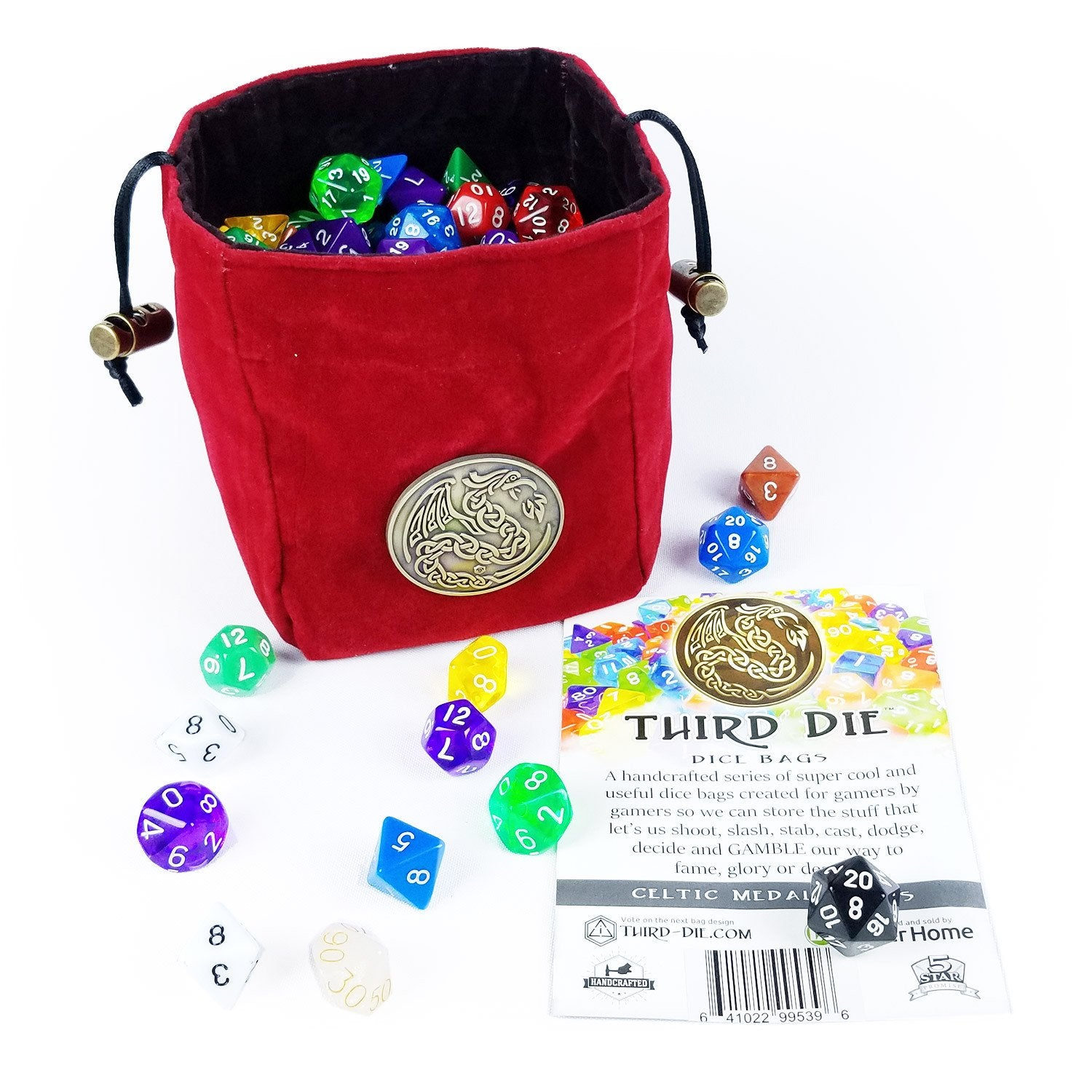 Third-Die Free Standing Celtic Medal Dice Bag - Celtic Dragon Blood Red - Imaginary Adventures