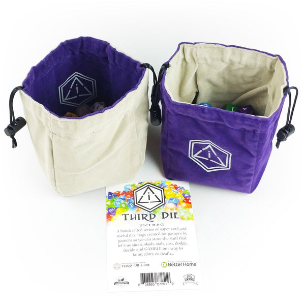 Third-Die Free Standing Reversible Dice Bag - Royal Purple & Light Gray - Imaginary Adventures