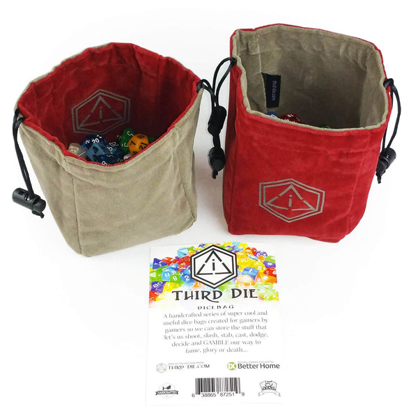 Third-Die Free Standing Reversible Dice Bag - Crimson & Dark Gray - Imaginary Adventures