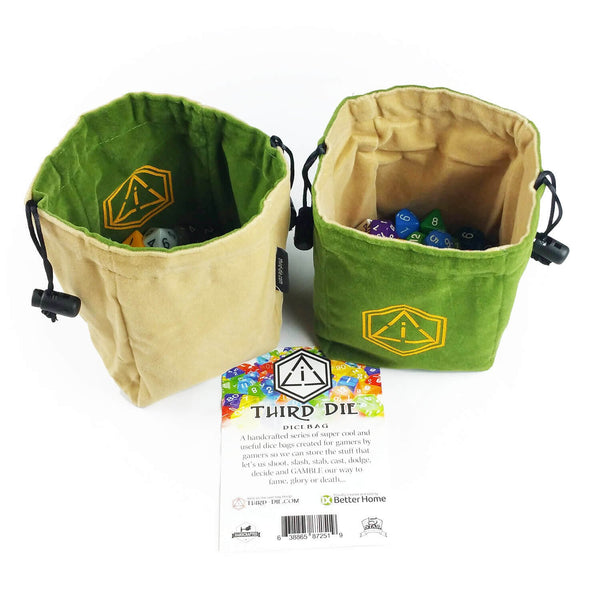 Third-Die Free Standing Reversible Dice Bag - Leaf Green & Tan - Imaginary Adventures