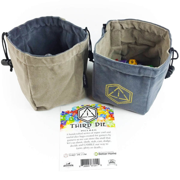 Third-Die Free Standing Reversible Dice Bag - Steel & Gray - Imaginary Adventures