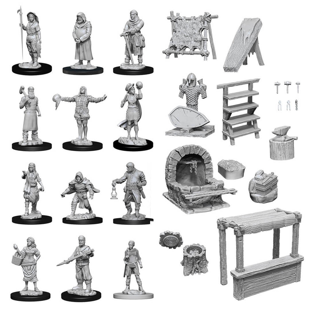 WizKids Deep Cuts Unpainted Minis - Townspeople & Accessories - PREORDER