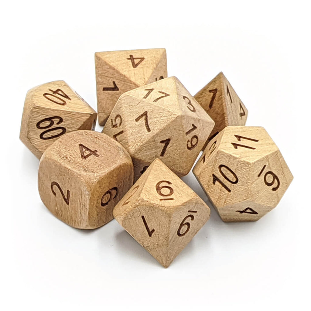 Wooden 7 Dice Set - Cherry - Imaginary Adventures