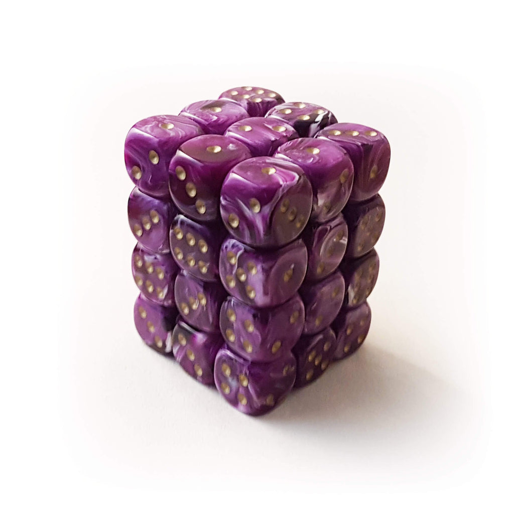 36d6 dice set - Chessex 27837 Vortex - Purple with Gold - Imaginary Adventures
