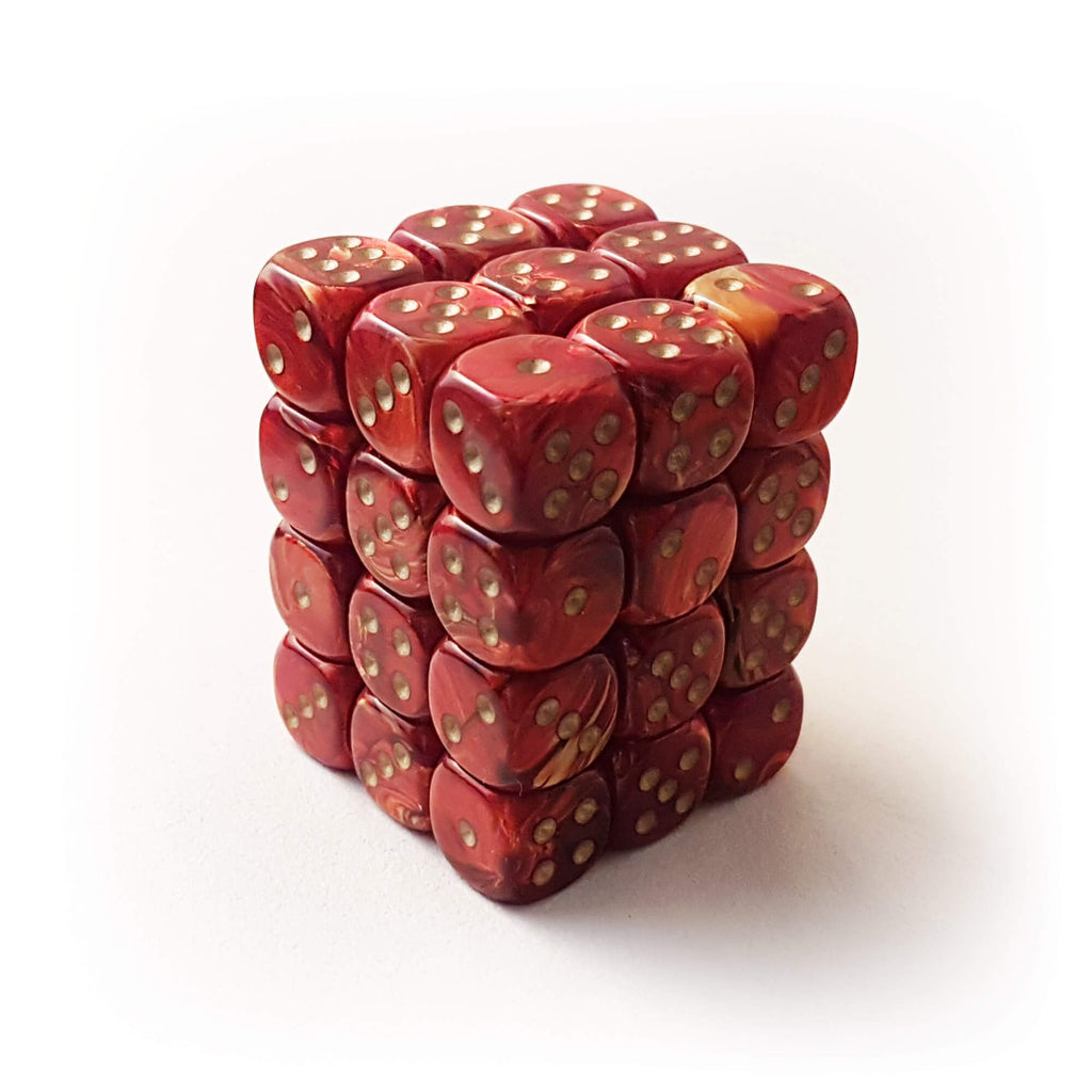 36d6 dice set - Chessex 27814 Scarab - Scarlet with Gold - Imaginary Adventures