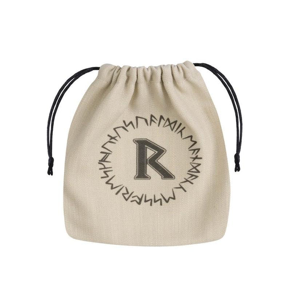 Basic Dice Bag - Runic - Beige & black - Imaginary Adventures