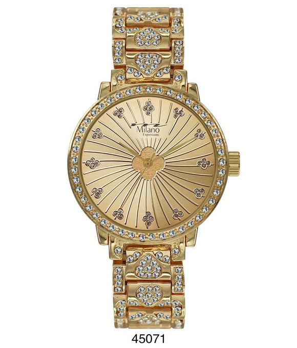 M Milano Expressions Gold Metal Band Watch with Gold Case and Gold Dial