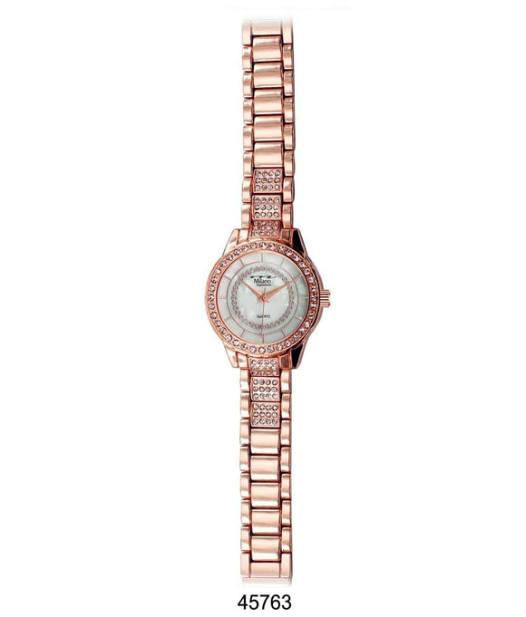 M Milano Expressions Rose Gold Metal Band Watch