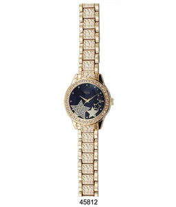 "M Milano ""Expressions"" Gold Metal Band Watch w/ Black Dial (Ladies)"