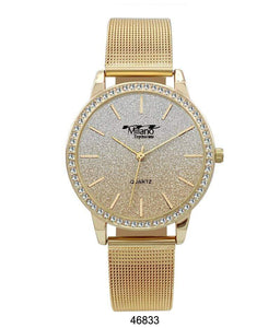 "M Milano ""Expressions"" Gold Mesh Band Watch w/ Gold Case & Gold Glitter Dial (Ladies)"