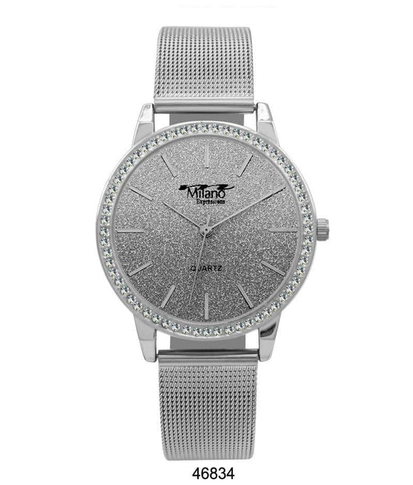 M Milano Expressions Silver Mesh Band Watch with Silver Case Silver Glitter Dial