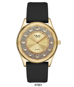 "M Milano ""Expressions"" Black Silicone Band Watch w/ Gold Case & Gold Dial (Ladies)"