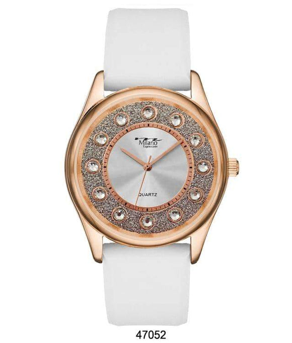 M Milano Expressions White Silicon Band Watch with Rose Gold Case and Silver Dial