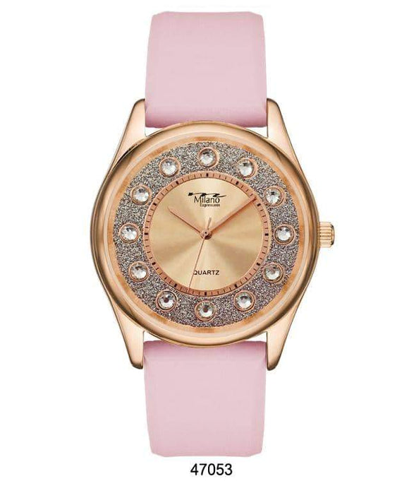 M Milano Expressions Pink Silicon Band Watch with Rose Gold Case and Rose Gold Dial
