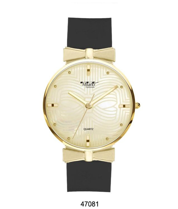 M MILANO EXPRESSIONS BLACK SILICON BAND WATCH WITH GOLD CASE