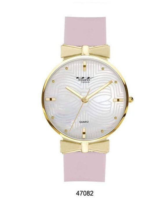 M MILANO EXPRESSIONS PINK SILICON BAND WATCH WITH GOLD CASE