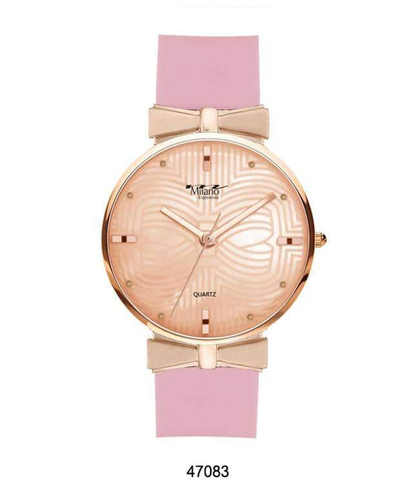 M MILANO EXPRESSIONS PINK SILICON BAND WATCH WITH ROSE GOLD CASE