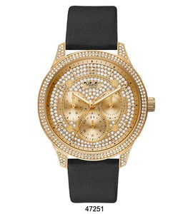 "M Milano ""Expressions"" Black Vegan Leather Band Watch w/ Gold Case, Gold Dial & Stones (Ladies)"