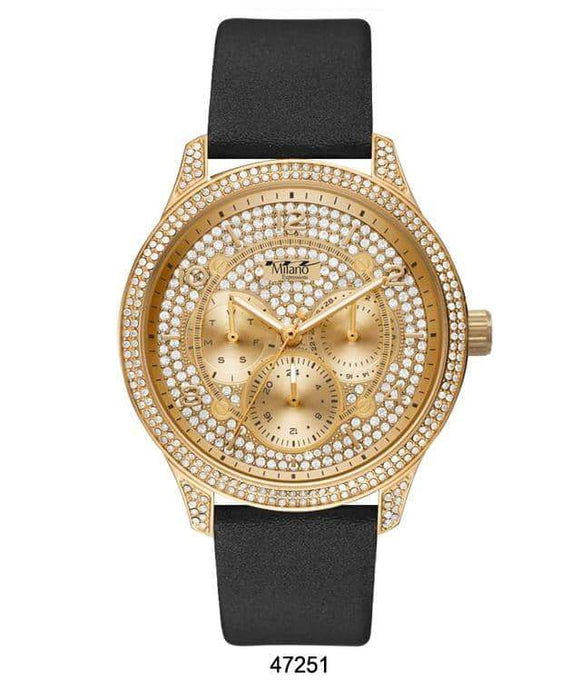 M Milano Expressions Black Vegan Leather Band Watch with Gold Case and Gold Dial with Stones