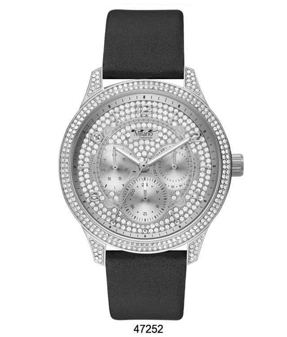 M Milano Expressions Black Vegan Leather Band Watch with Silver Case and Silver Dial with Stones