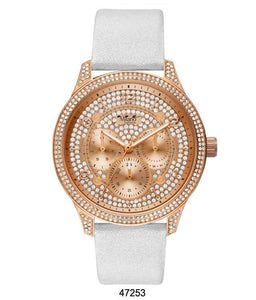 M Milano Expressions White Vegan Leather Band Watch with Rose Gold Case and Rose Gold Dial with Stones