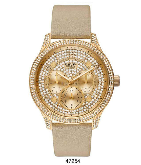M Milano Expressions Creme Vegan Leather Band Watch with Gold Case and Gold Dial with Stones