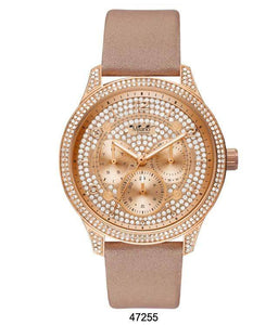 "M Milano ""Expressions"" Nude Vegan Leather Band Watch w/ Rose Gold Case & Rose Gold Dial & Stones (Ladies)"