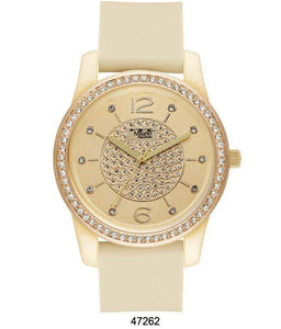 M Milano Expressions Gold Silicon Band Watch with Gold Stone Case and Gold Dial