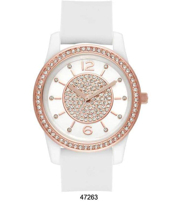 M Milano Expressions White Silicon Band Watch with White