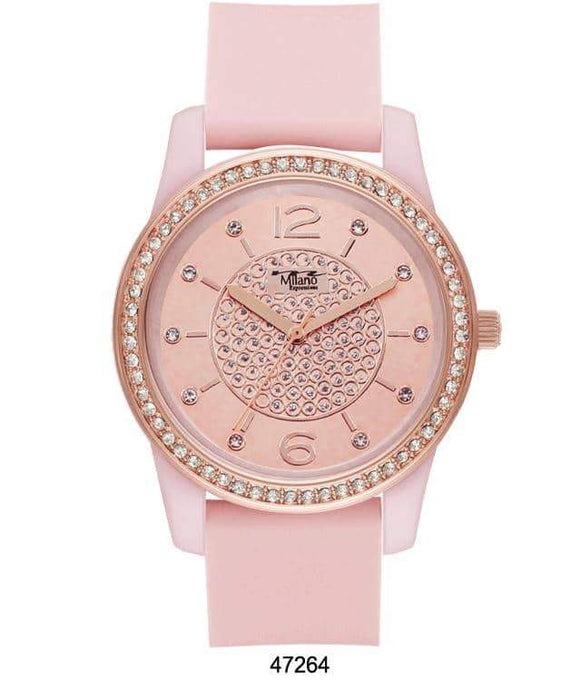 M Milano Expressions Pink Silicon Band Watch with Pink