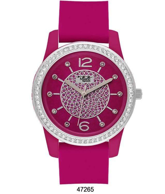 M Milano Expressions Magenta Silicon Band Watch with Magenta