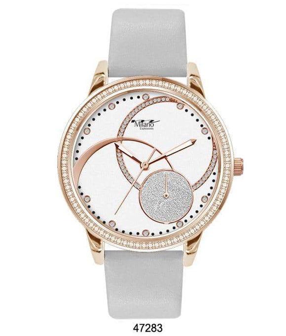 M Milano Expressions White Silicon Band Watch with Gold Case and White Abstract Dial with Gold Accents