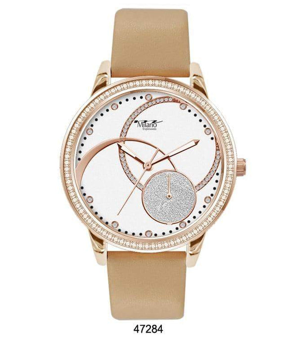 M Milano Expressions Nude Silicon Band Watch with Gold Case and White Abstract Dial with Gold Accents