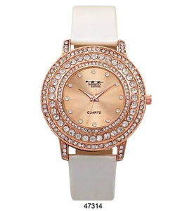 "M Milano ""Expressions"" Pearly Vegan Leather Band Watch w/ Rose Gold Stone Case & Rose Gold Dial (Ladies)"