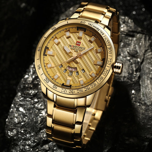 Luxury Brand Men's Stainless Steel Gold Watch