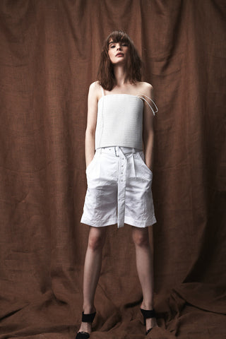 Crushed Cotton Belted Short