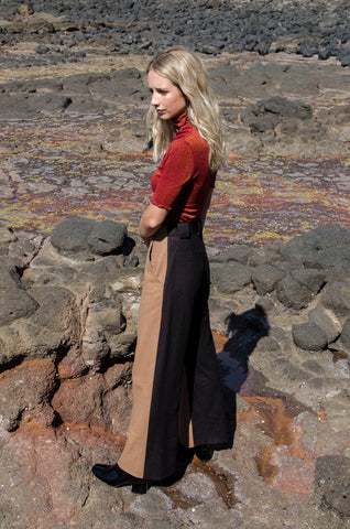 Two-Tone Wool Trouser