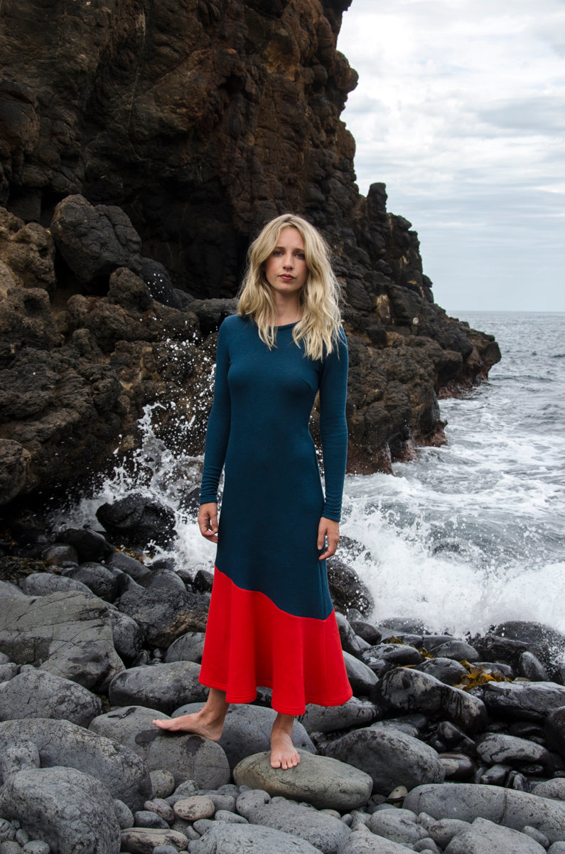Versicolour Dress - Marine / Red