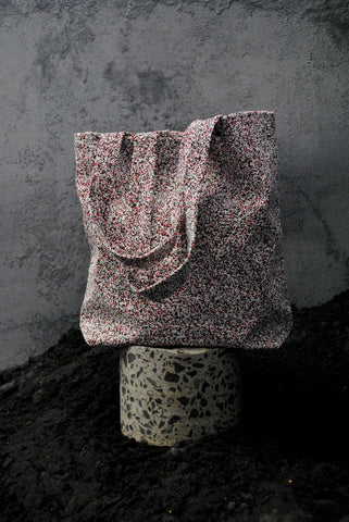 Red, Black, and White Speckle Tote Bag