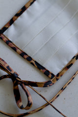 Face Mask with Ties - Leopard Linen