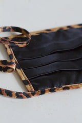 Face Mask with Ties - Leopard Silk Black