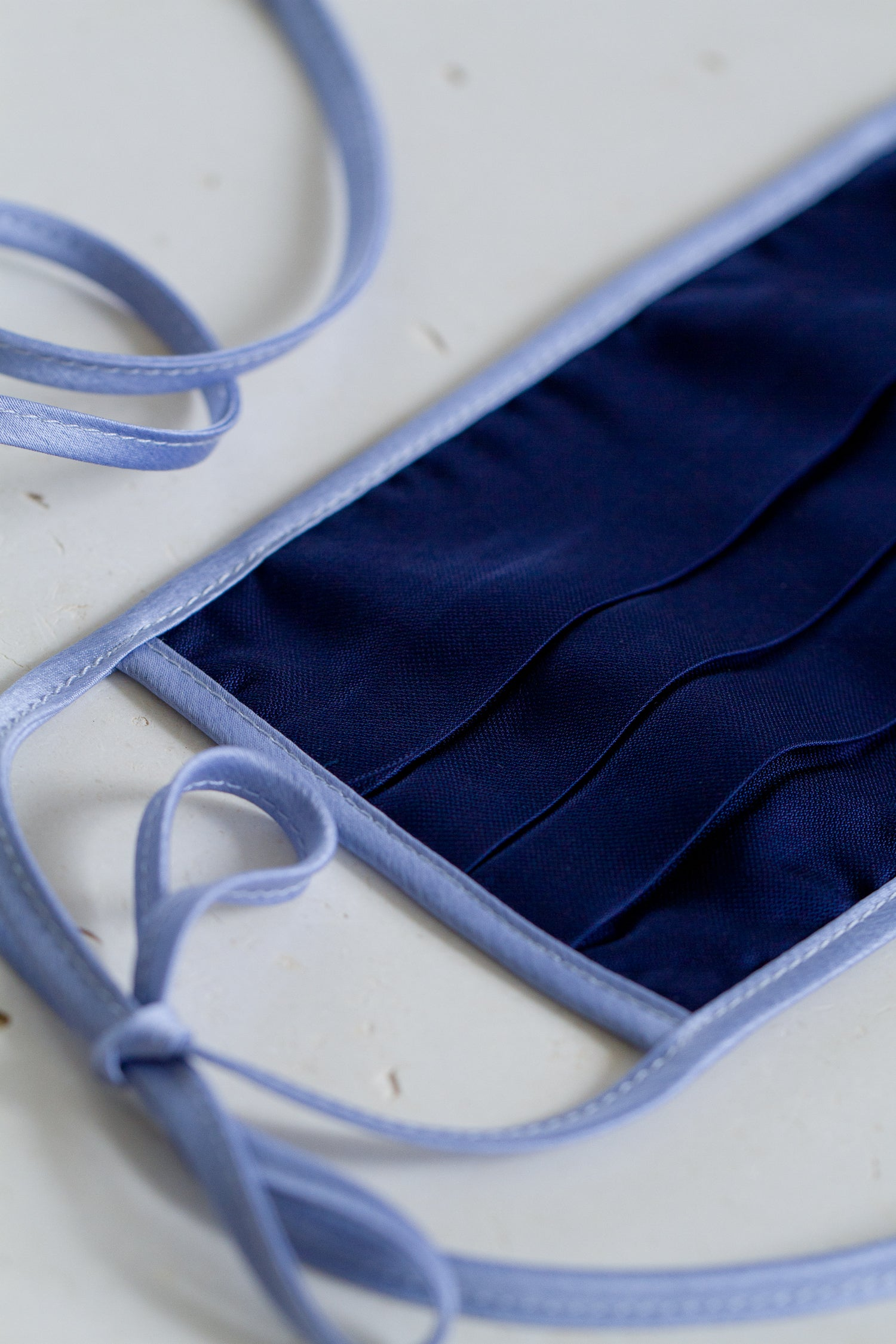 Face Mask with Ties - Navy