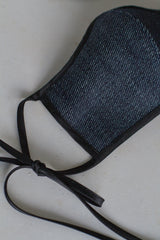 Face Mask with Ties - Dark Denim