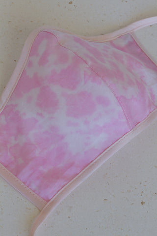 Face Mask with Ties - Silk Tie-Dye Pink
