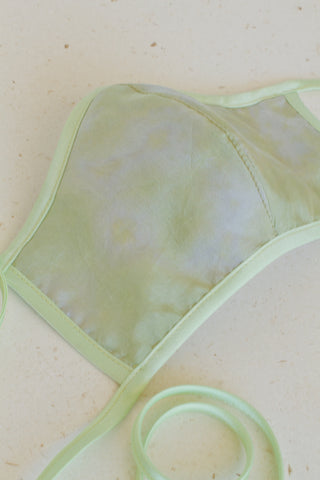 Face Mask with Ties - Silk Tie-Dye Green