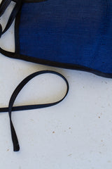Face Mask with Ties - Navy Linen