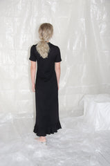 Black Flounce T-Shirt Dress