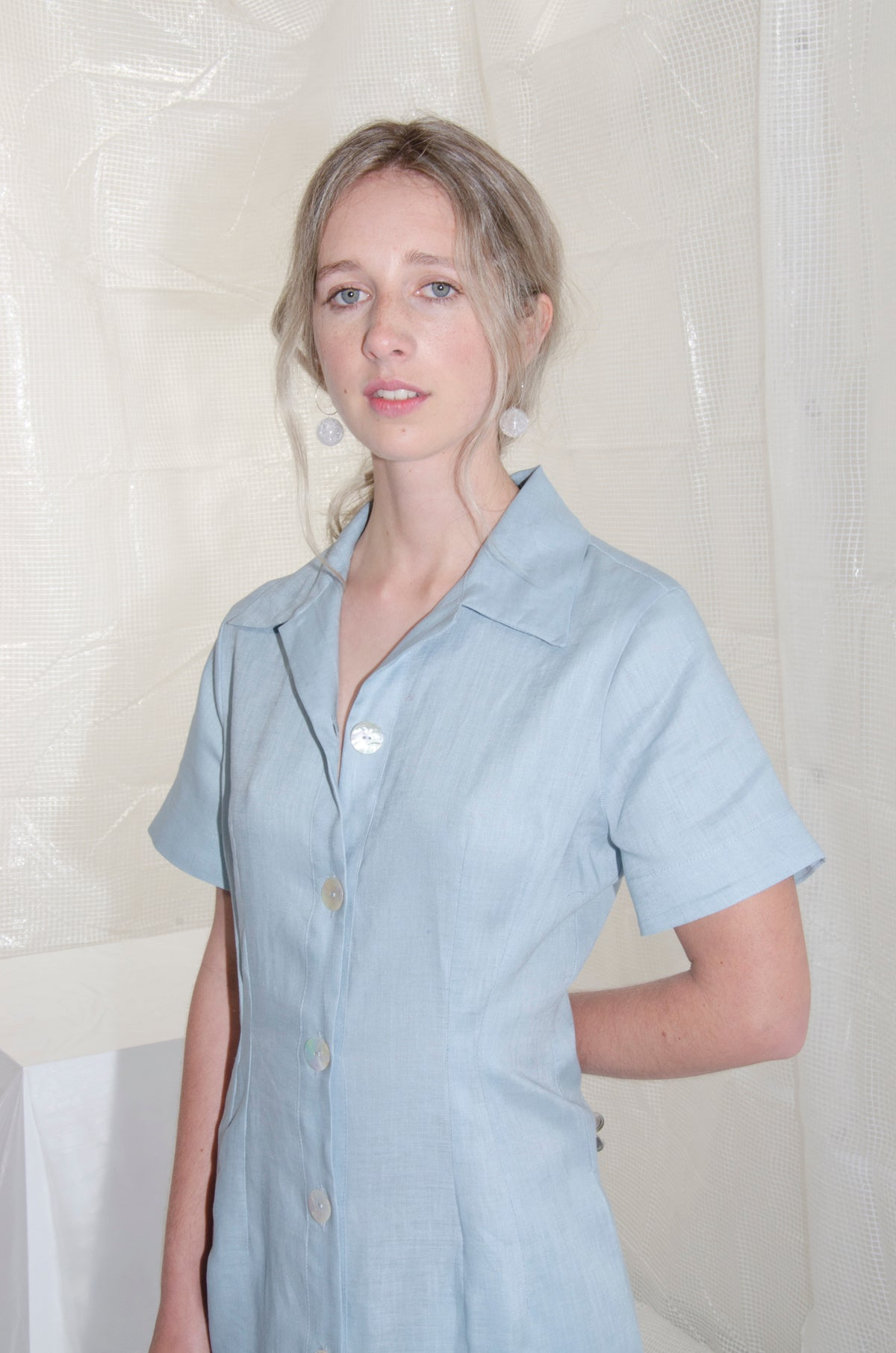 Powder Blue Tailored Linen Shirtdress