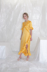 Marigold Silk Satin Ruffle Dress