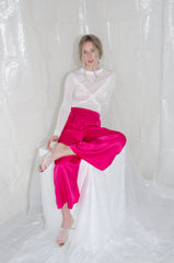 Fuchsia Gathered Wide Leg Trouser